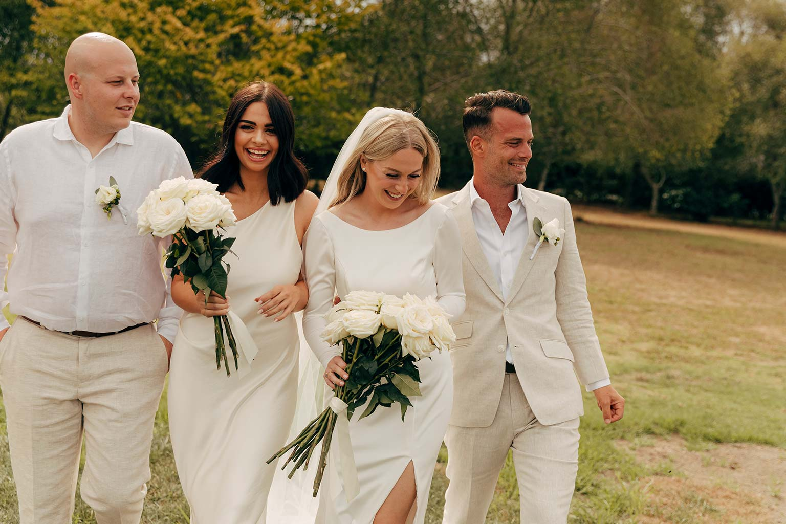Vinka Design Bridal Wear features Real Wedding Matt and Emilia - bride with bridesmaid and groom, bride wearing bespoke Audrey gown from Modern Muse Collection
