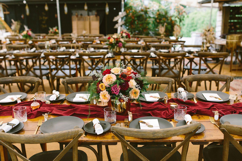 Rachel and Jeremy rustic bohemian table settings - Matakana and St Andrew's Church