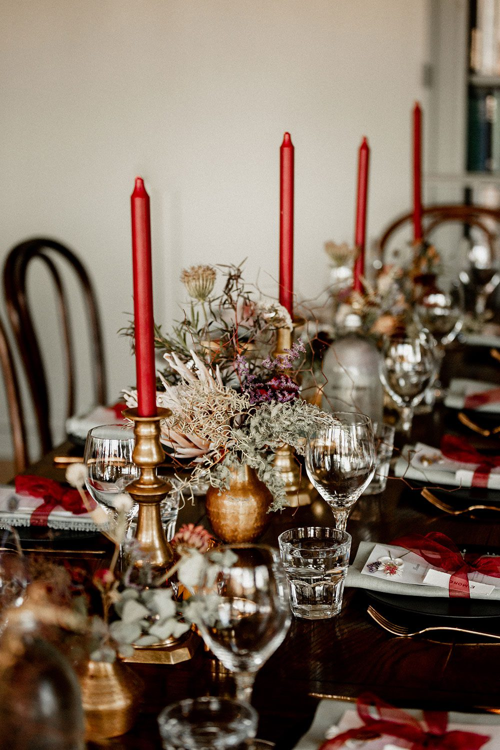 Emore and Hamish - Black Barn River Room place settings