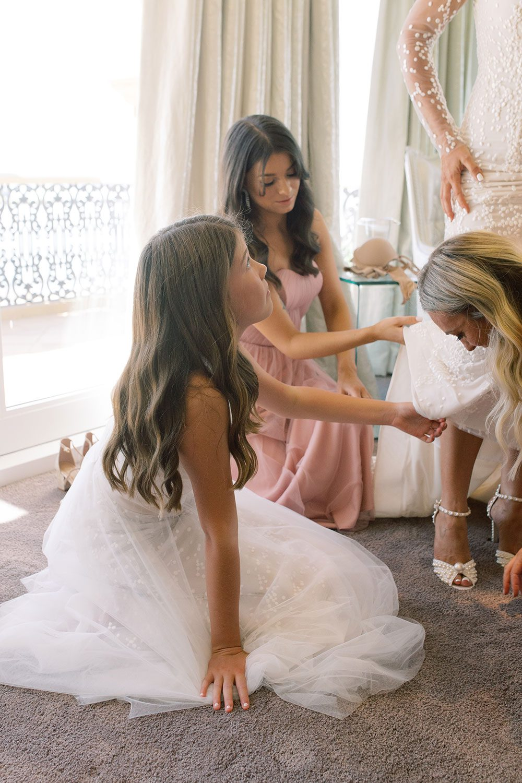 Fiona and David - Bridesmaids helping bride