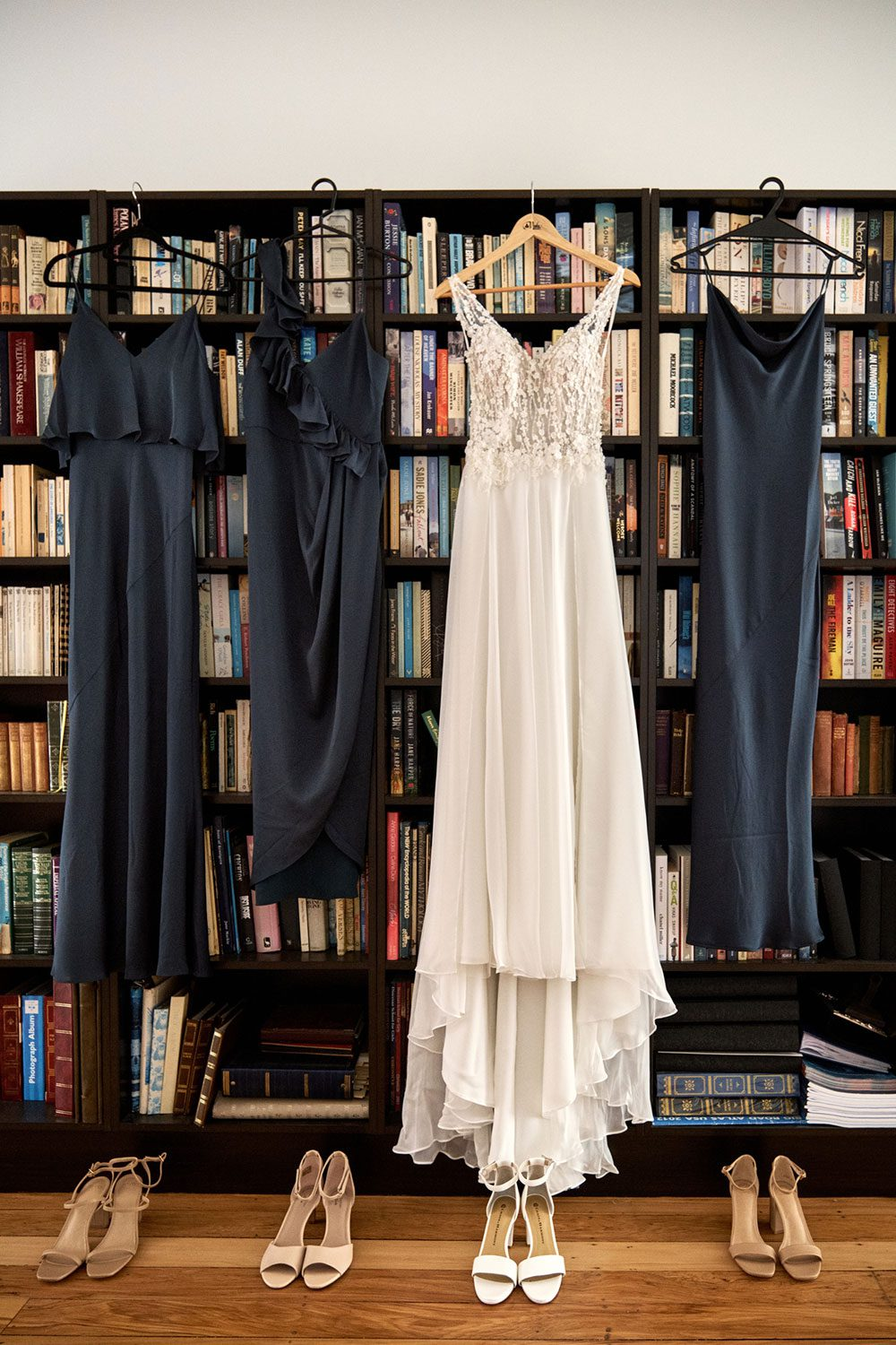 Bespoke gown made of silk chiffon with delicate flower lace bodice by Vinka bridal designer Auckland - bride and bridesmaid dresses and shoes