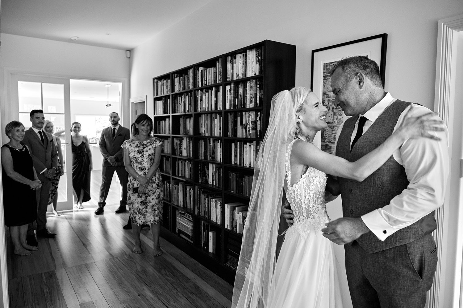 Bride wearing bespoke gown made of silk chiffon with delicate flower lace bodice by Vinka bridal designer Auckland - black and white with father