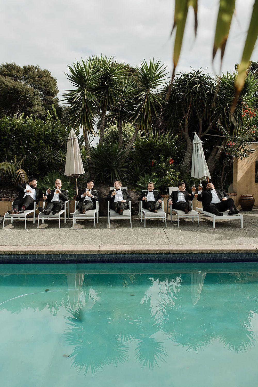 Rachel and Leon - groomsmen by pool