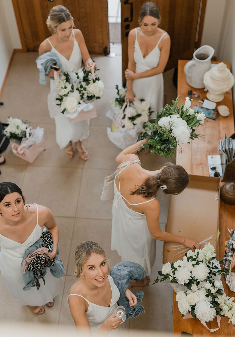Rachel and Leon - overhead shot with bridesmaids